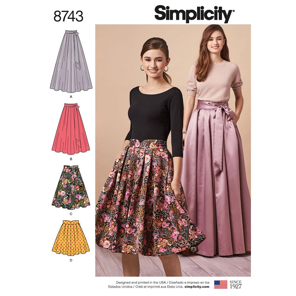 b942afc2acd Simplicity 8743 Misses  Pleated Skirts R5 (Sizes 14-22) - Discount Designer  Fabric - Fabric.com