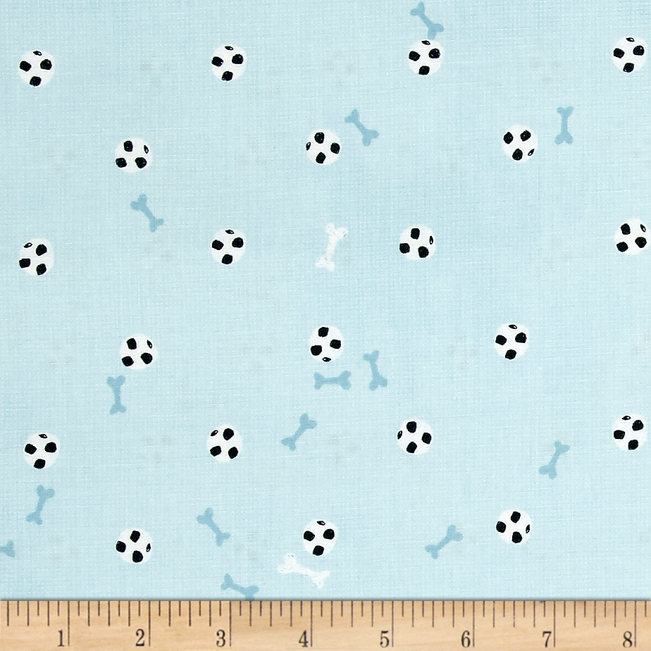 My Best Friend Dog Bone And Soccer Ball Blue Fabric