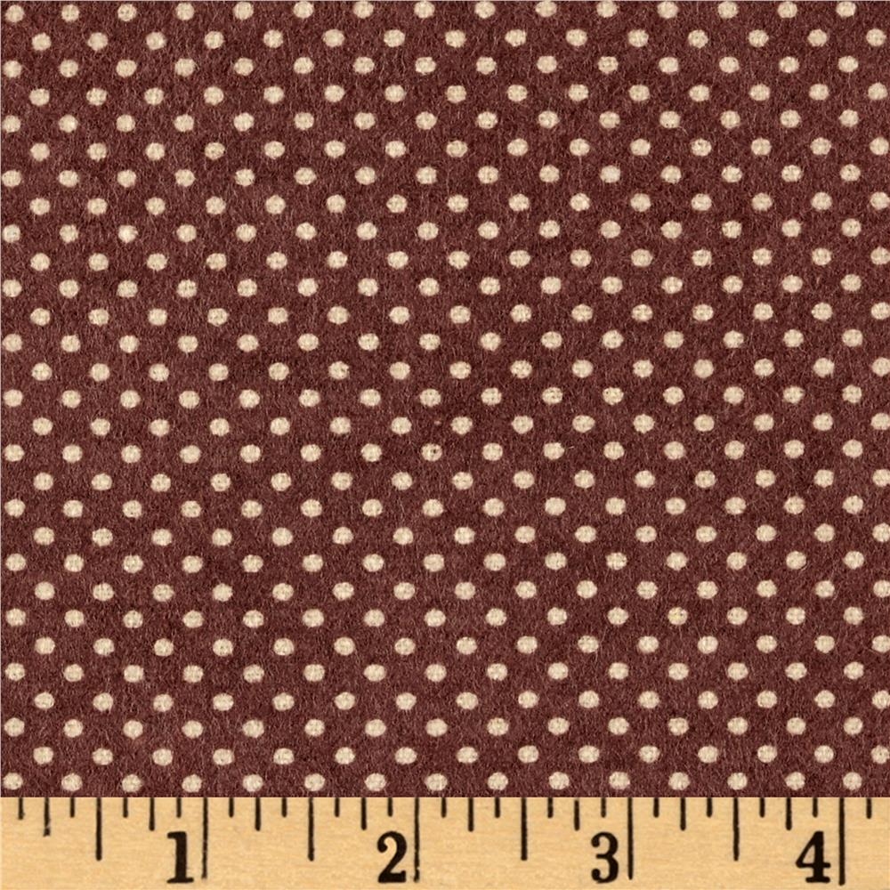 Cuddle Flannel Dots Brown Fabric