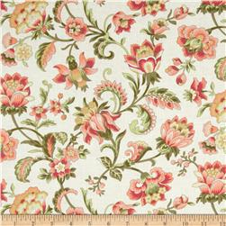 Subtle Sunset Large Floral Cream Fabric