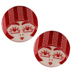 Novelty Button 3/4'' Flapper Red/White