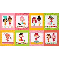 Robert Kaufman Girlfriends Career Girls Blocks Garden