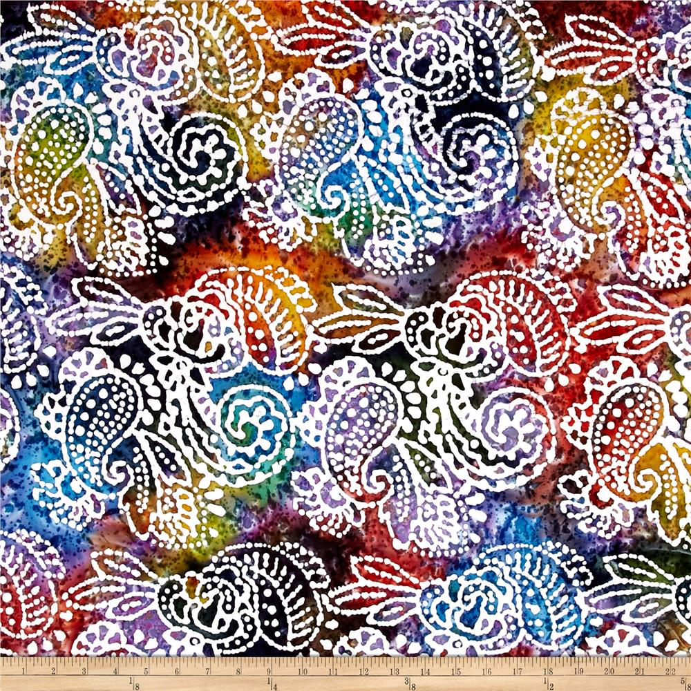 Indian Batik Cascades Paisley  Dark Multi
