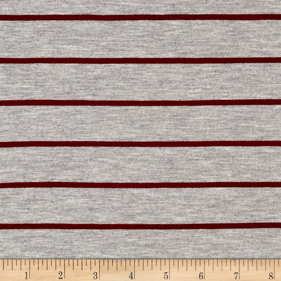 Rayon Jersey Knit Thin Stripe Gray/Maroon Fabric By The Yard