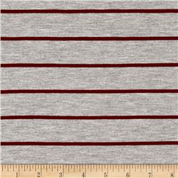 Rayon Jersey Knit Thin Stripe Gray/Maroon