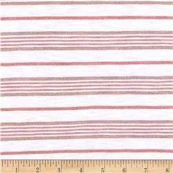 Designer Rayon Blend Slub Jersey Knit Stripes Brick