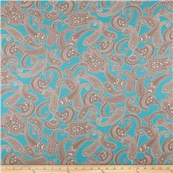 Cotton Spandex Jersey Knit Paisley Blue/Brown