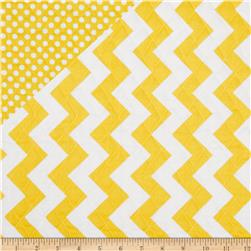 Riley Blake Double Sided Quilted Medium Chevron Yellow