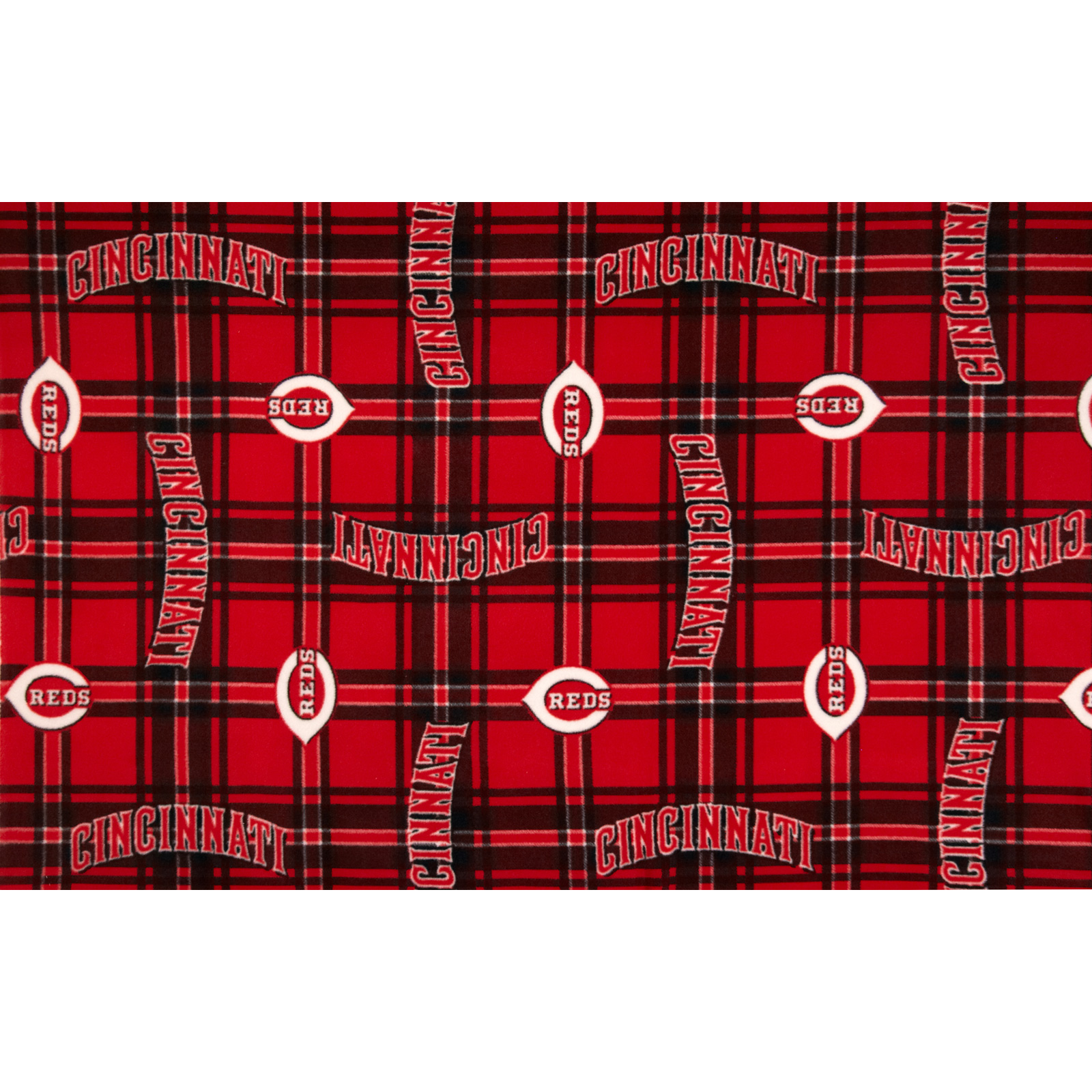 MLB Fleece Cincinnati Reds Plaid Red/Black Fabric