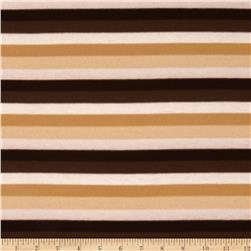 Stretch Jersey Knit Yarn Dyed Stripes Brown/Tan