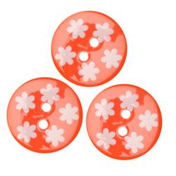 Fashion Button 3/4'' Confetti Flowers Orange/White