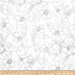 Black and White Gramercy Floral Black/White Fabric