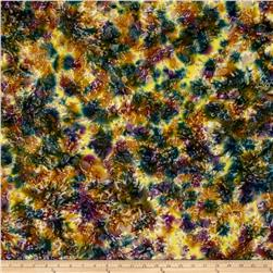 Indian Batik Lava Spray Texture Yellow/Teal/Purple