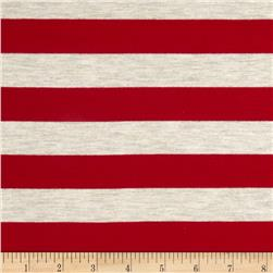 Stretch Rayon Jersey Knit Large Stripe Red/Oatmeal Fabric