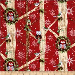 Woodland Noel Flannel Owls Red
