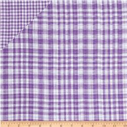 Double Cloth Yarn Dyed Shirting Plaid Purple