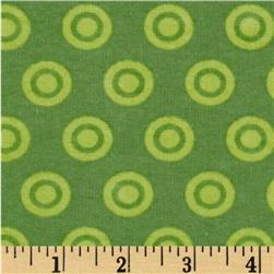 Alpine Flannel Basics Circle Dots Tonal Green
