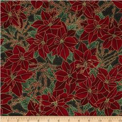 Berries and Blooms Metallic Poinsettias Black/Gold
