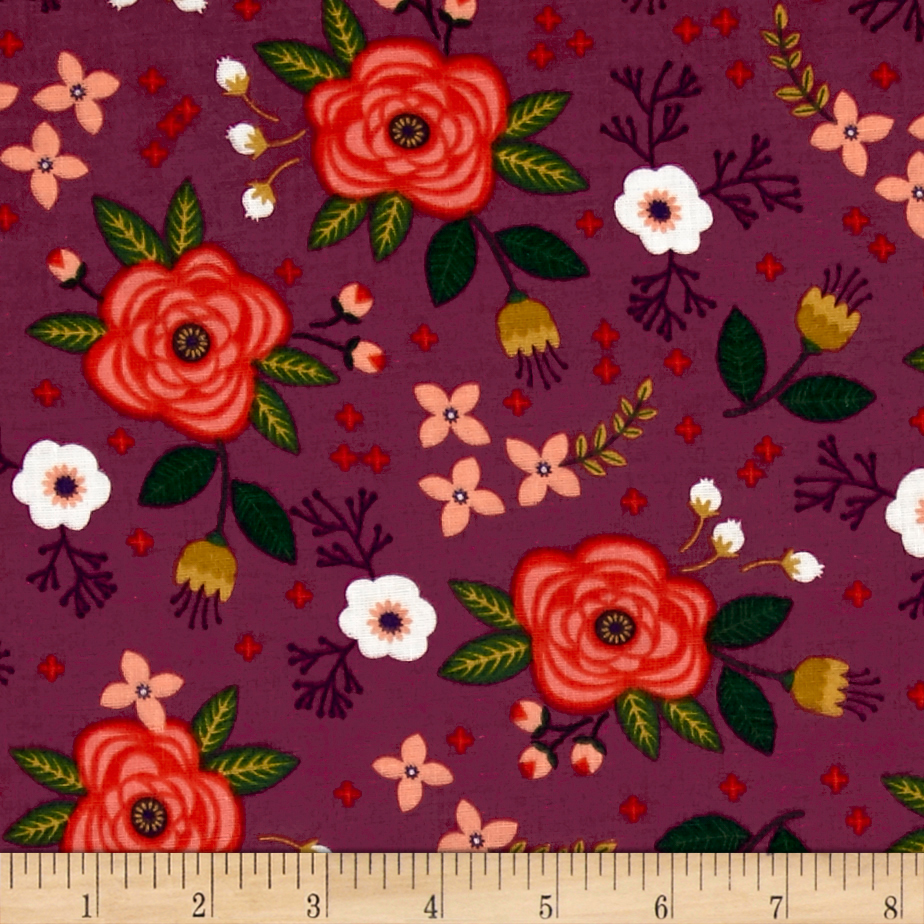 Enchanted Floral Double Gauze Plum Fabric by Eugene in USA