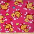 Whisper Coral Fleece Duck Bubbles & Hearts Fuchsia