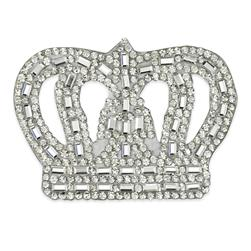 "2 3/4"" x 2"" Iron on Rhinestone Royal Crown Applique"