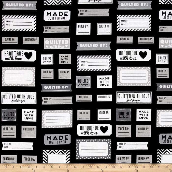 Kaufman Made for You Quilt Labels Black