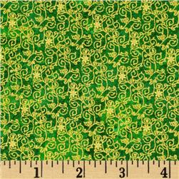 Marblehead Glistening Christmas II Small Floral Scroll Green