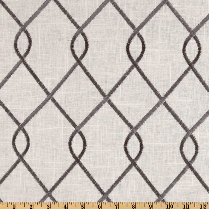 Duralee Home Embroidered Rico Grey Fabric