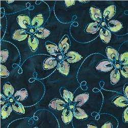 Embroidered Indian Batik Floral Navy/Lime