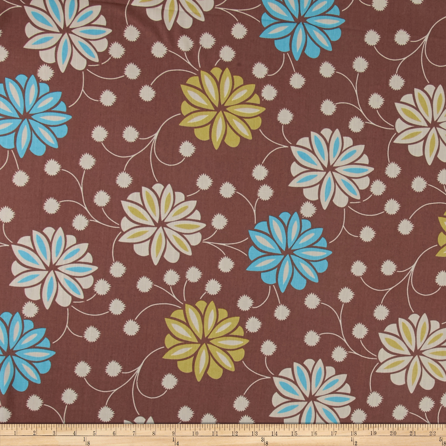 Ansley Home Decor Floral Brown Fabric