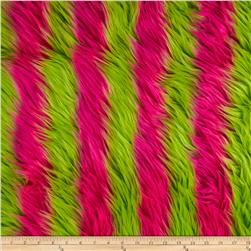 Faux Fur Luxury Shag Neon Pink/Green Fabric