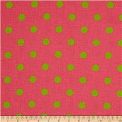 Premier Prints Polka Dot Candy Pink/Chartreuse Fabric