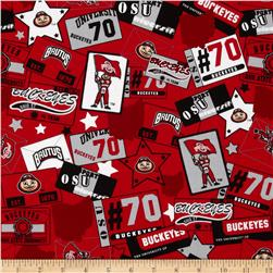 Collegiate Cotton Broadcloth Ohio State University Patchwork Red/Black/Grey