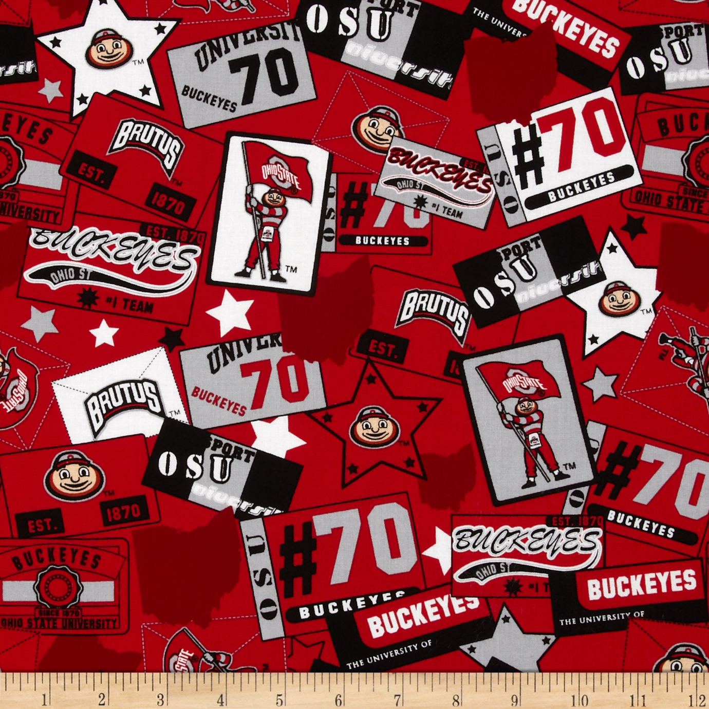 Collegiate Cotton Broadcloth Ohio State University Patchwork Red/Black/Grey Fabric by Sykel in USA