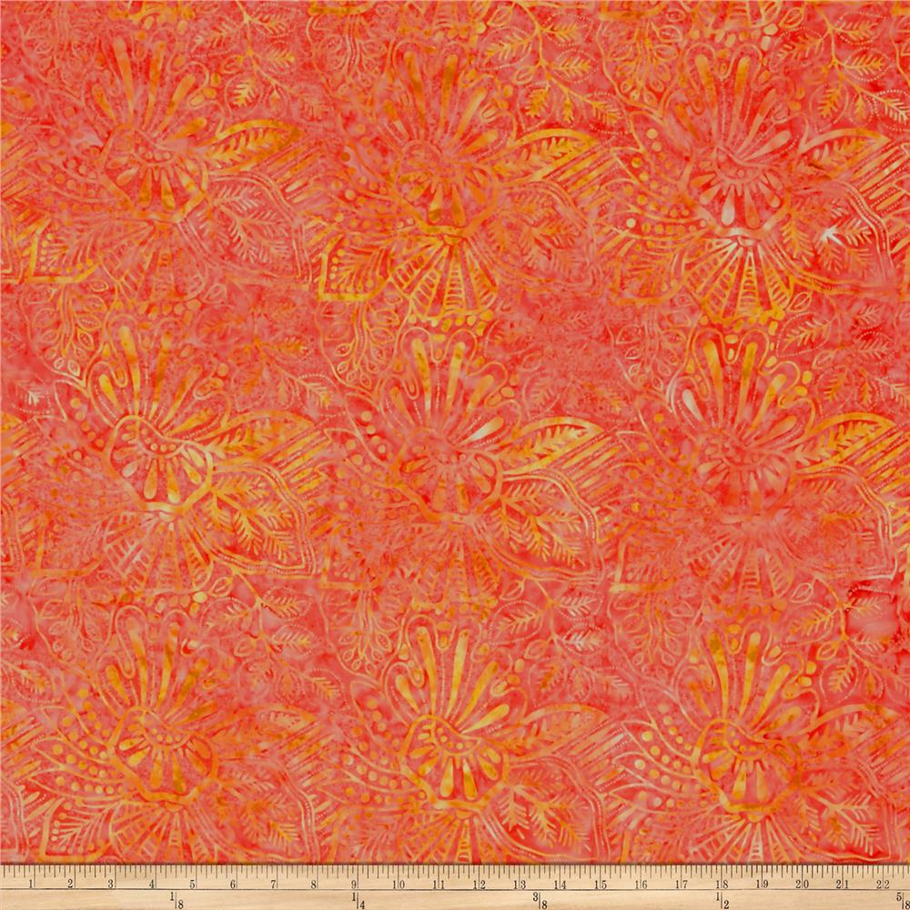 Wilmington Batiks Large Floral Coral/Orange