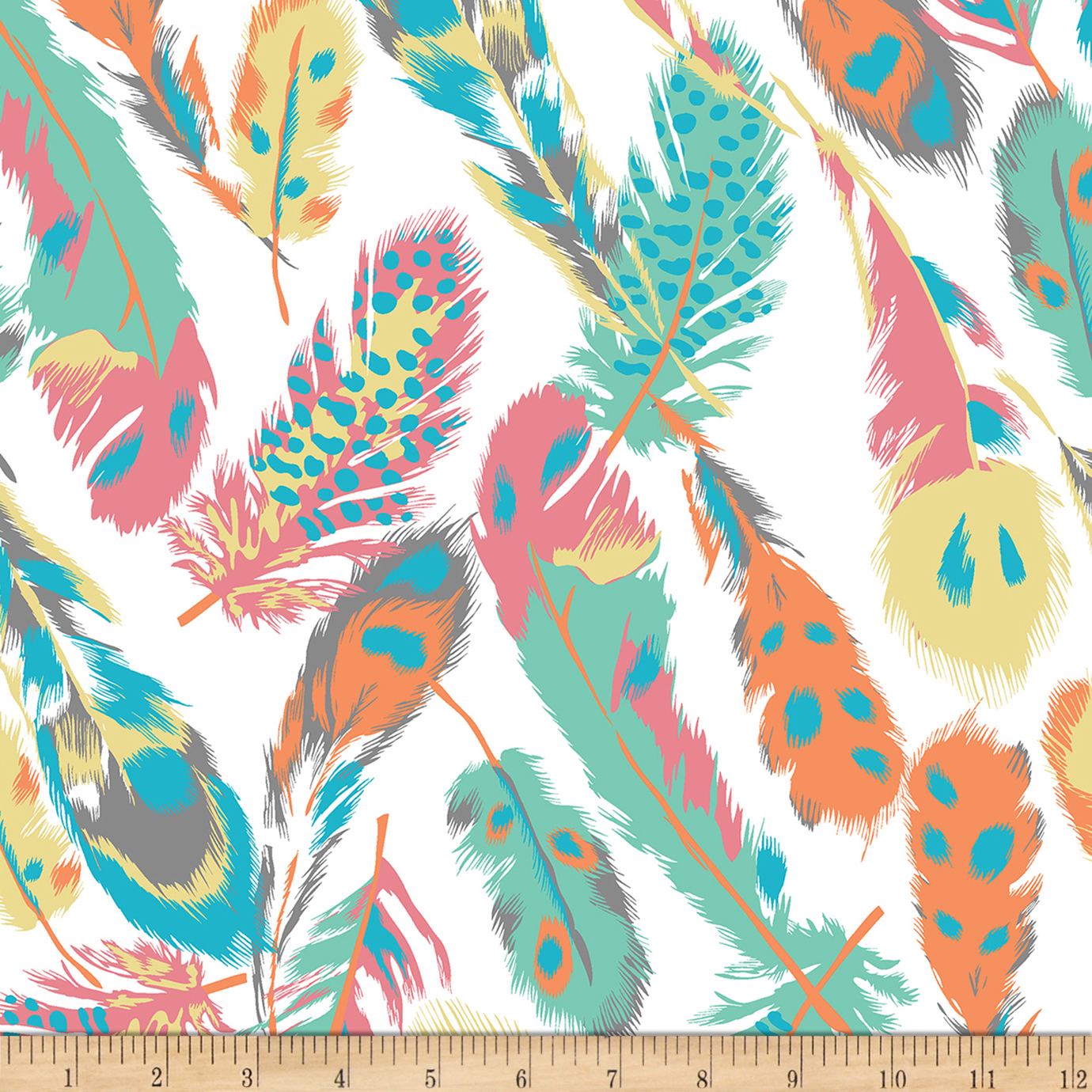 Image of Bolt By Girl Charlee Desert Sky Jersey Knit Feathers Multi Fabric