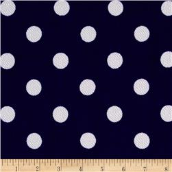 Liverpool Double Knit Print Dots Royal/White