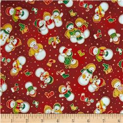 Seasons Greetings Snowmen Red