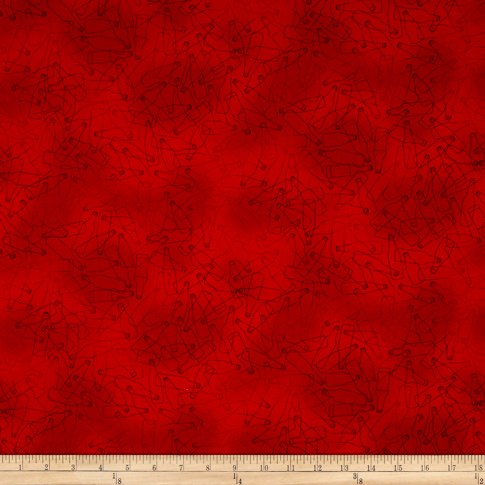 Image of In Doubt Drink Stout Beer Bottle Toile Red Fabric