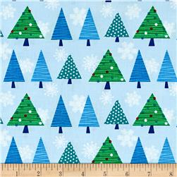 Benartex Christmas Tree Fest Blue Multi
