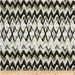 Bloom Stretch Cotton Sateen Watercolor Ikat Beige/Black