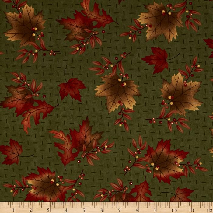 Moda Maple Island Autumn Leaves Woodland Green