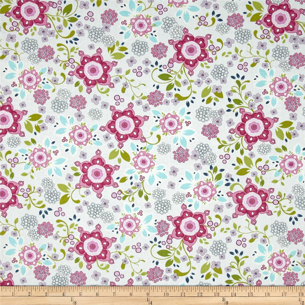 Laugh Love Quilt Large Floral Gray