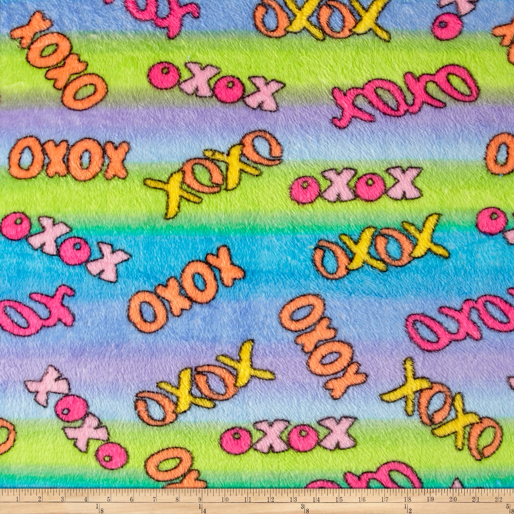 Whisper Plush Fleece Hugs and Kisses Lagoon Fabric by Newcastle in USA