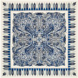 Silk Chiffon Scarf Panel Paisley Blue/White