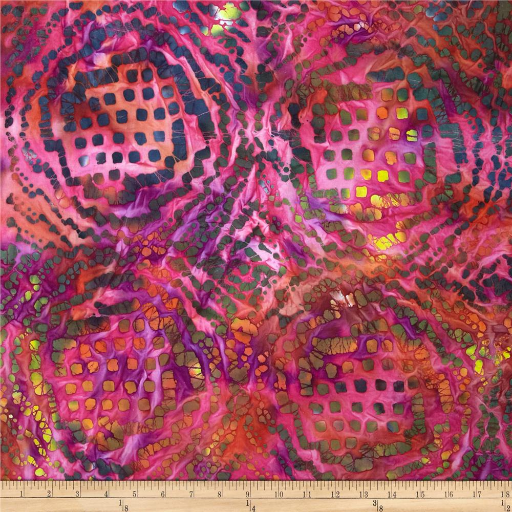 Indian Batiks Abstract Pink/Teal