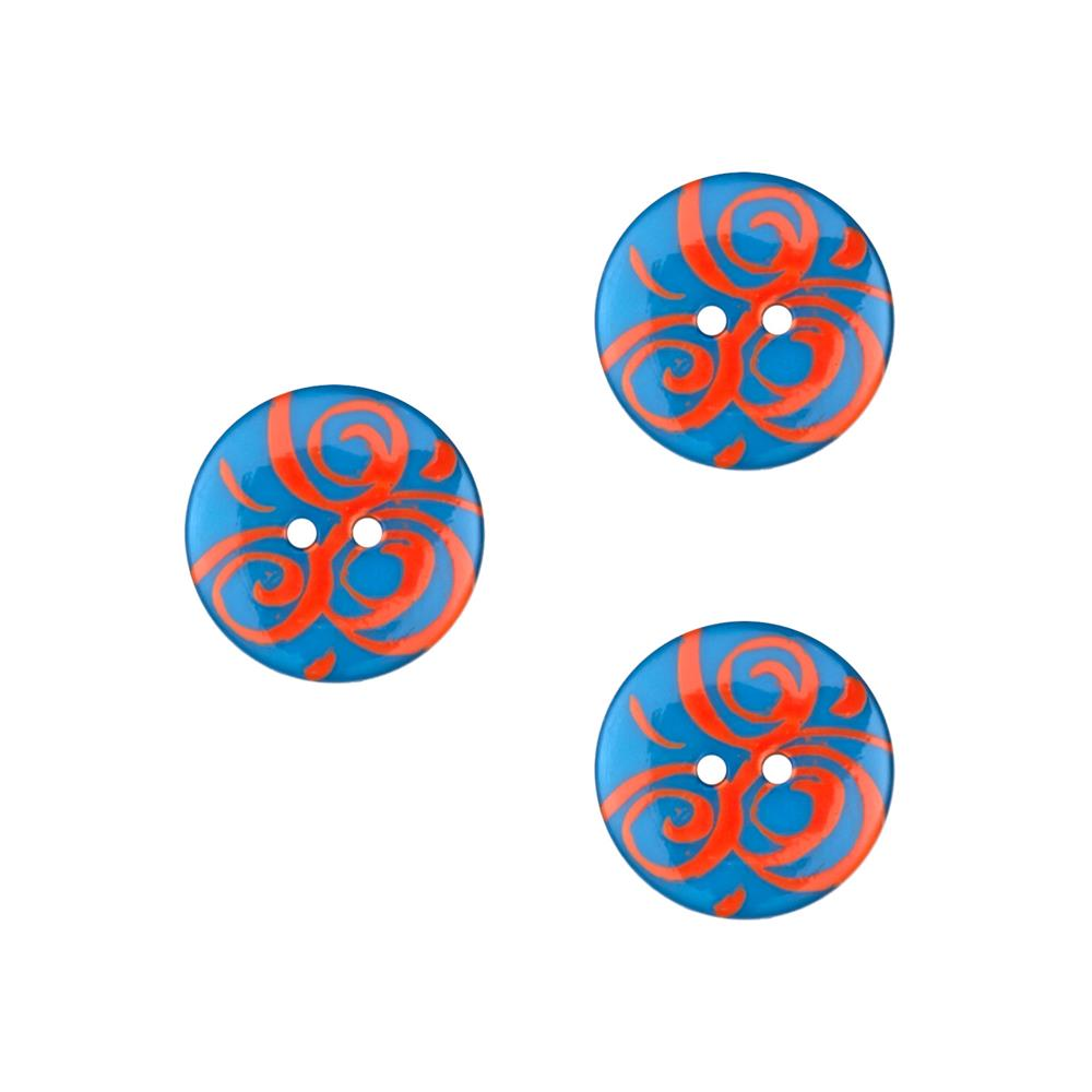 Dill Novelty Button 3/4'' Swirl Turquoise
