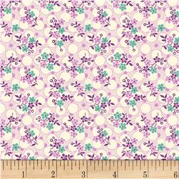 Vintage 30'S Florals Forget Me Knots Purple