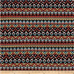 Jersey Knit Aztec Triangle Orange Teal Multi
