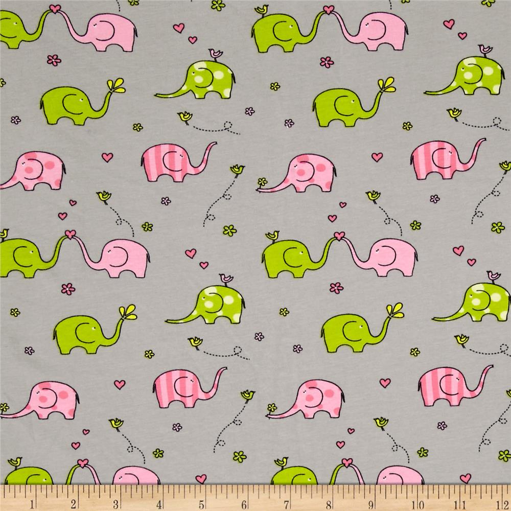 Jersey Knit Sweet Elephants Gray